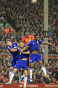 Christian Benteke (Liverpool) wins the header over the three Chelsea defenders during the Barclays Premier League match between Liverpool and Chelsea at Anfield, Liverpool, England on 11 May 2016. Photo by Mark P Doherty.