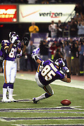 MINNEAPOLIS - NOVEMBER 21:  Tight end Jermaine Wiggins #85 of the Minnesota Vikings celebrates after catching an 8 yard touchdown pass in the first quarter against the Detroit Lions at the Hubert H. Humphrey Metrodome on November 21, 2004 in Minneapolis, Minnesota. The Vikings defeated the Lions 22-19. ©Paul Anthony Spinelli  *** Local Caption *** Jermaine Wiggins