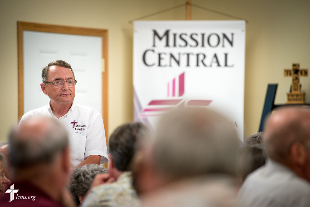 Gary Thies leads a volunteer luncheon at Mission Central on Saturday, July 18, 2015, in Mapleton, Iowa. LCMS Communications/Erik M. Lunsford