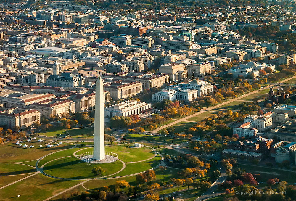 Aerial view of Washington Monument and The Mall, Washington, DC