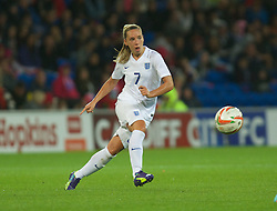 CARDIFF, WALES - Tuesday, August 21, 2014: England's Jordan Nobbs in action against Wales during the FIFA Women's World Cup Canada 2015 Qualifying Group 6 match at the Cardiff City Stadium. (Pic by Ian Cook/Propaganda)
