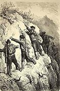 Contrebandiers de la Serranía de Ronda [Smugglers from the Serranía de Ronda ] Page illustration from the book 'L'Espagne' [Spain] by Davillier, Jean Charles, barón, 1823-1883; Doré, Gustave, 1832-1883; Published in Paris, France by Libreria Hachette, in 1874