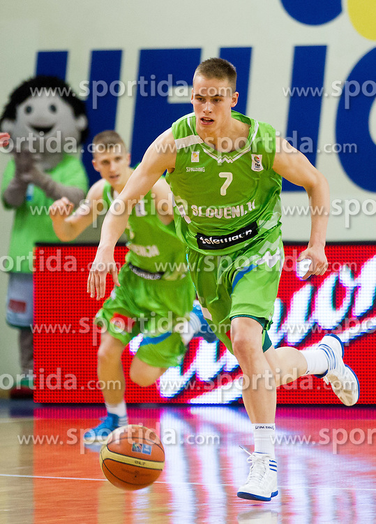 Luka Rupnik of Slovenia and Klemen Prepelic of Slovenia during basketball match between National teams of Latvia and Slovenia in Qualifying Round of U20 Men European Championship Slovenia 2012, on July 16, 2012 in Domzale, Slovenia. Slovenia defeated Latvia 69-62. (Photo by Vid Ponikvar / Sportida.com)