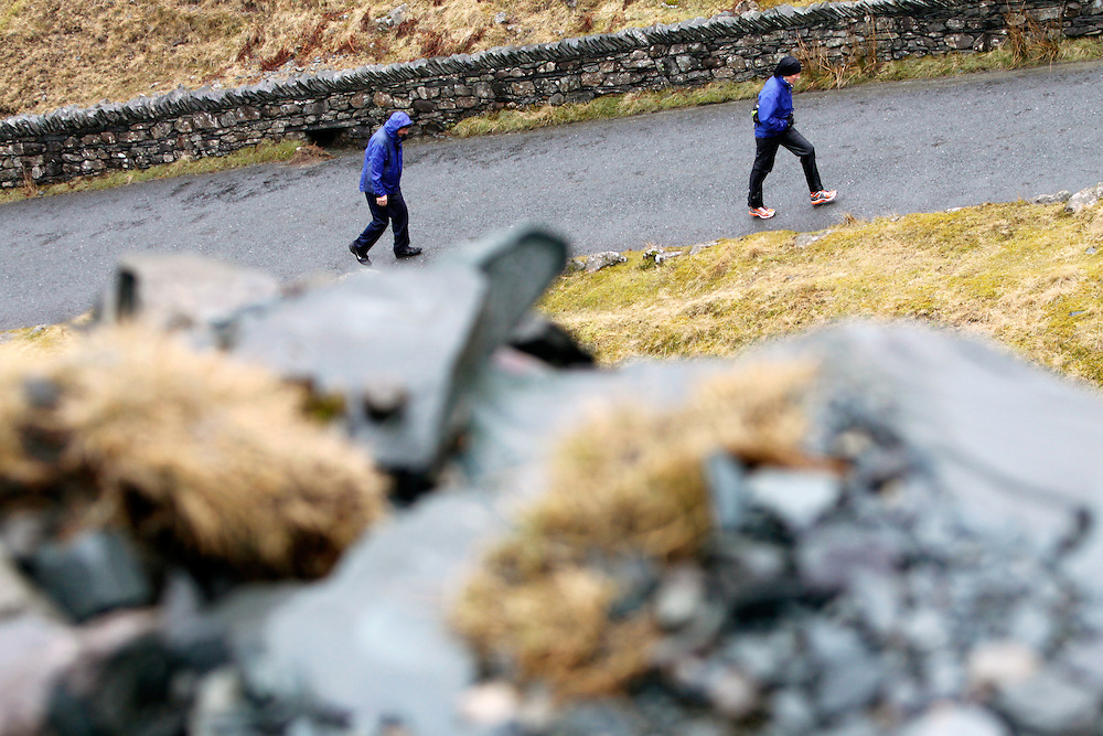 Workington to Keswick Charity Walk...Walkers braving Honister Pass in the bad weather...Pics by Ben Russell