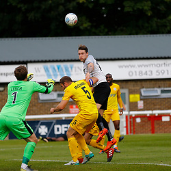 SEPTEMBER 1y6:  Dover Athletic against Chester FC in Conference Premier at Crabble Stadium in Dover, England. Doveer ran out emphatic winners 4 goal to nothing. Dover's forward Ryan Bird rises to head the ball towards the Chester goal. (Photo by Matt Bristow/mattbristow.net)