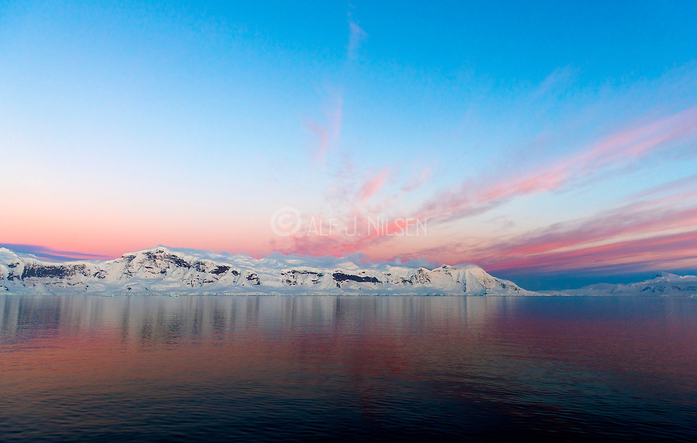Early morning twillight in Gerlache Strait, the Antarctic Peninsula.