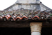Detail of old tiled church roof. Racisce, island of Korcula, Croatia.