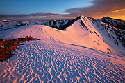 Sunrise provides a powerful glow to Mount Sniktau's south face, 13,234ft, Arapahoe National Forest, Colorado.
