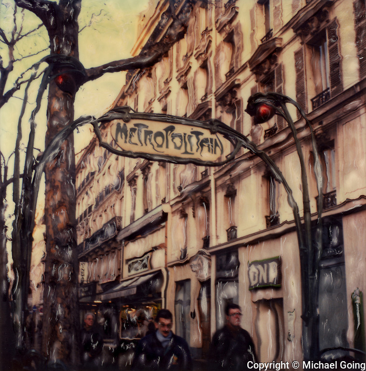 Passengers exiting art nouveau <br /> Metro Bastille Station Paris