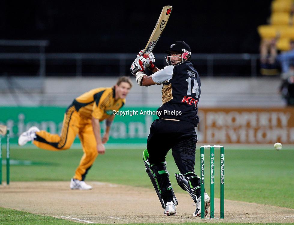 Daryl Tuffey New Zealand v Australia Twenty20 cricket match. Westpac Stadium, Wellington. Friday 26 February 2010. Photo: Anthony Phelps/PHOTOSPORT