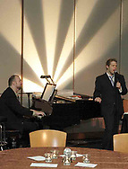 Ray Fellman (left) and Brandon Cutrell, both from New York City, perform in the Piano Lounge at the 21st birthday party of the Human Race Theatre Company in Sinclair's Ponitz Center, Saturday night, April 28th.