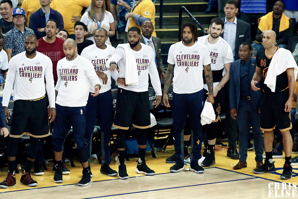 12 June 2017: Cleveland Cavaliers forward LeBron James (23), Cleveland Cavaliers guard Dahntay Jones (30), Cleveland Cavaliers guard James Jones (1), Cleveland Cavaliers center Tristan Thompson (13), Cleveland Cavaliers forward Derrick Williams (3), Cleveland Cavaliers forward Kevin Love (0), Cleveland Cavaliers guard Kay Felder (20) and Cleveland Cavaliers forward Richard Jefferson (24) are seen during the Golden State Warriors 129-120 victory over the Cleveland Cavaliers, in game 5 of the 2017 NBA Finals, at the Oracle Arena, Oakland, California, USA.
