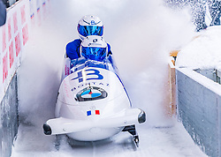 18.01.2020, Olympia Eiskanal, Innsbruck, AUT, BMW IBSF Weltcup Bob und Skeleton, Igls, Bob Zweisitzer, Herren 2. Lauf, im Bild Romain Heinrich, Dorian Hauterville (FRA) // Romain Heinrich Dorian Hauterville of France reacts after his 2nd run of men's doubles Bobsleigh of BMW IBSF World Cup at the Olympia Eiskanal in Innsbruck, Austria on 2020/01/18. EXPA Pictures © 2020, PhotoCredit: EXPA/ Stefan Adelsberger
