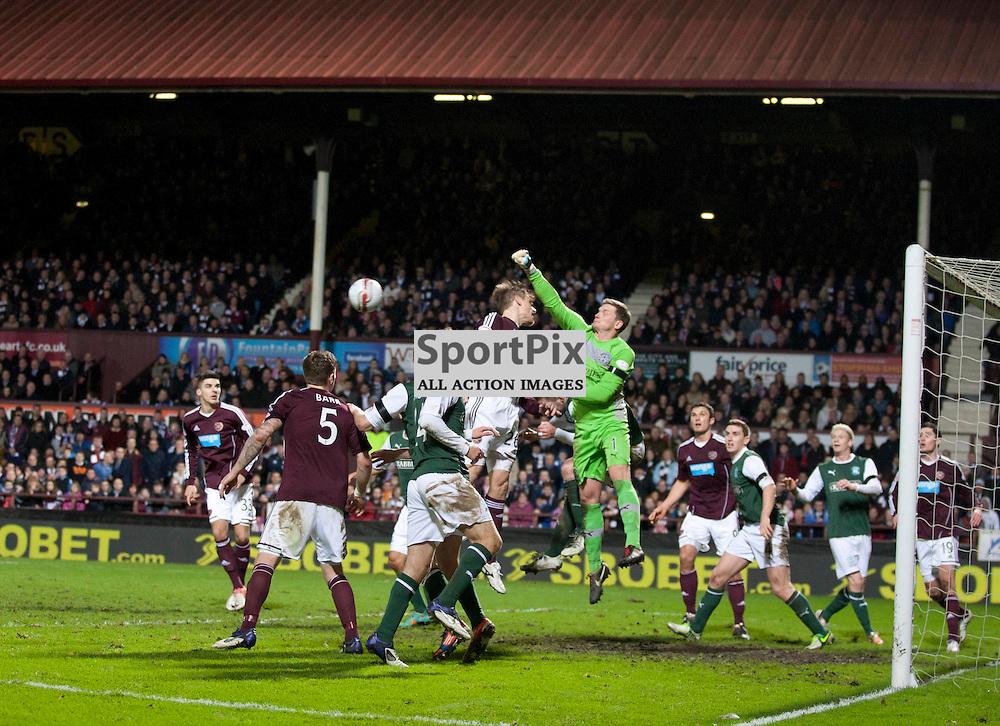 Ben Williams (Hibs Goalie) punches clear..Heart of Midlothian v Hibernian. Scottish Premier League. Tynecastle Stadium, Edinburgh..EDITORIAL USE ONLY.(c) Russell Sneddon | StockPix.eu