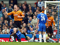 Photo: Scott Heavey. Digitalsport<br /> Chelsea v Wolverhampton Wanderers. FA Barclaycard Premiership. 27/03/2004.<br /> Jody Craddock (L) celebrates the second for Wolves