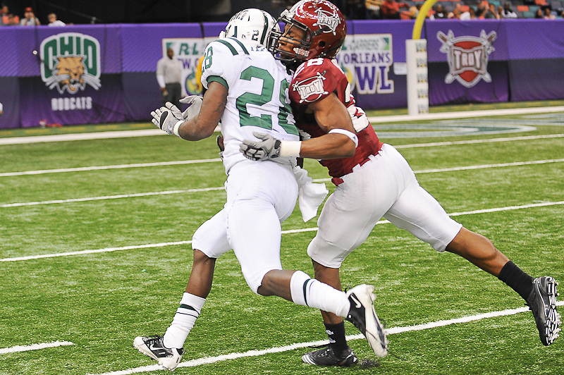 Ohio Bobcats running back Donte Harden (28) runs for a first down during the second half of the game. Troy Trojans defeats Ohio Bobcats 48-21 at the New Orleans Bowl.