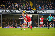 Charlton Athletic midfielder Andrew Crofts (8) heads away from Southend United striker Simon Cox (10) during the EFL Sky Bet League 1 match between Southend United and Charlton Athletic at Roots Hall, Southend, England on 31 December 2016. Photo by Jon Bromley.