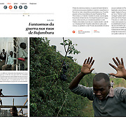 "Tearsheet of ""Burundi crisis"" published in Courrier Internacional"