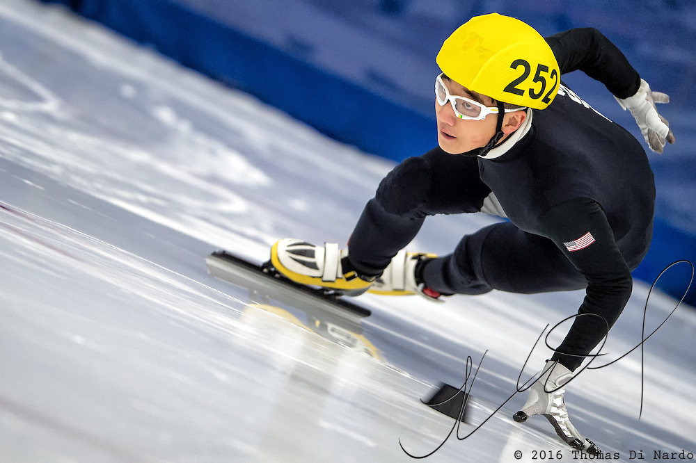 March 19, 2016 - Verona, WI - Jae Jae Yoo, skater number 252 competes in US Speedskating Short Track Age Group Nationals and AmCup Final held at the Verona Ice Arena.
