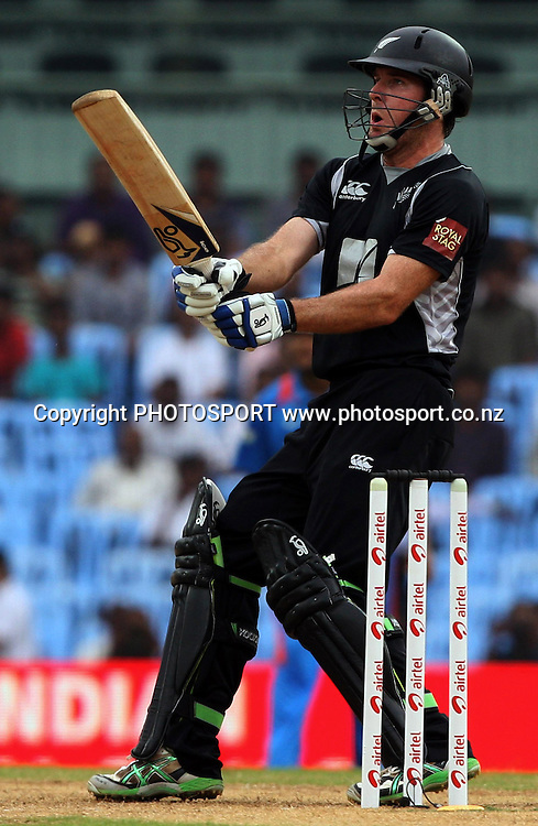 New Zealand batsman Jamie How plays a shot against during the India vs New Zealand 5th ODI Played at MA Chidambaram Stadium, Chepauk, Chennai, 10 December 2010 - day/night (50-over match)