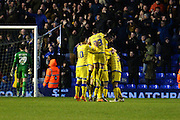 The Owls celebrate going 2-0 up during the Sky Bet Championship match between Birmingham City and Sheffield Wednesday at St Andrews, Birmingham, England on 6 February 2016. Photo by Jon Hobley.