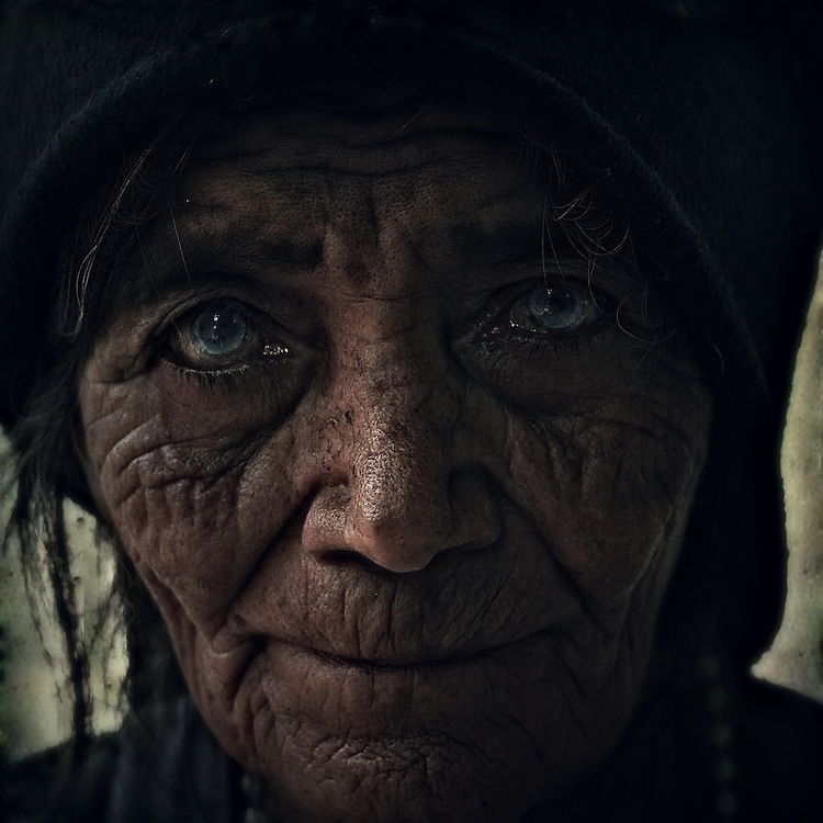 The face of an old woman