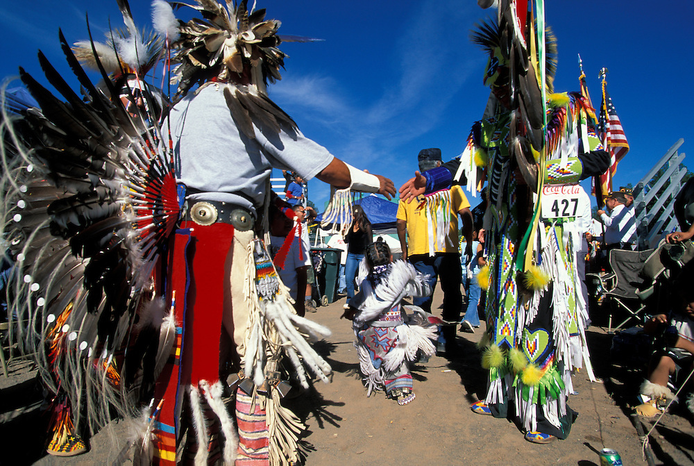 Arizona, White Mountain Apache Indian Reservation, Participants line up to shake hands at end of Pow Wow in the Pines