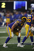 Los Angeles Rams offensive tackle Rob Havenstein (79) in action during the NFL Super Bowl 53 football game against the New England Patriots on Sunday, Feb. 3, 2019, in Atlanta. The Patriots defeated the Rams 13-3. (©Paul Anthony Spinelli)