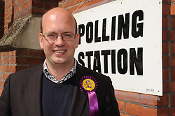 © Licensed to London News Pictures. 07/05/2015<br /> Ukip's second MP Mark Reckless voting.<br /> General Election polling day. Voters go to the polls today (07.05.2015).<br /> UKIP candidate for Rochester and Strood Mark Reckless voting at Rochester Baptist Church hall,Crow Lane,Rochester,Kent<br /> (Byline:Grant Falvey/LNP)