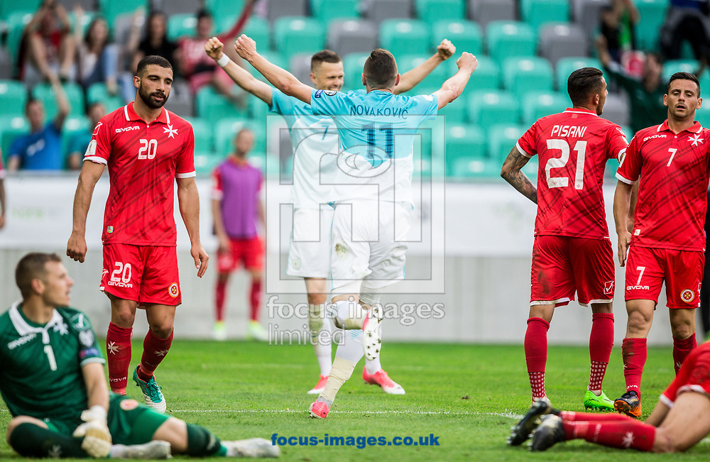 Milivoje Novakovic of Slovenia celebrates scoring the second goal during the 2018 FIFA World Cup Qualifying match at SRC Stozice, Ljubljana<br /> Picture by EXPA Pictures/Focus Images Ltd 07814482222<br /> 10/06/2017<br /> *** UK &amp; IRELAND ONLY ***<br /> <br /> EXPA-SLO-170610-0033.jpg