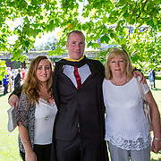 "25.08.2016          <br />  Faculty of Business, Kemmy Business School graduations at the University of Limerick today. <br /> <br /> Attending the conferring was Bachelor of Business Studies graduatePaul Culloty, Mallow Co. Cork with Vicky Daveron and Maura Culloty. Picture: Alan Place.<br /> <br /> <br /> As the University of Limerick commences four days of conferring ceremonies which will see 2568 students graduate, including 50 PhD graduates, UL President, Professor Don Barry highlighted the continued demand for UL graduates by employers; ""Traditionally UL's Graduate Employment figures trend well above the national average. Despite the challenging environment, UL's graduate employment rate for 2015 primary degree-holders is now 14% higher than the HEA's most recently-available national average figure which is 58% for 2014"". The survey of UL's 2015 graduates showed that 92% are either employed or pursuing further study."" Picture: Alan Place"