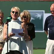 Vic Braden is honored during a ceremony on Stadium 1 at the 2015 BNP Paribas Open in Indian Wells, California on Thursday, March 19, 2015. Kris Paul at the microphone.<br />
