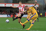 Danny Wright and Alex Whitmore during the Vanarama National League match between Cheltenham Town and Chester City at Whaddon Road, Cheltenham, England on 5 December 2015. Photo by Antony Thompson.