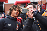 Nathan Ake (5) of AFC Bournemouth signing having a selfie with a fan before the Premier League match between Bournemouth and Tottenham Hotspur at the Vitality Stadium, Bournemouth, England on 11 March 2018. Picture by Graham Hunt.