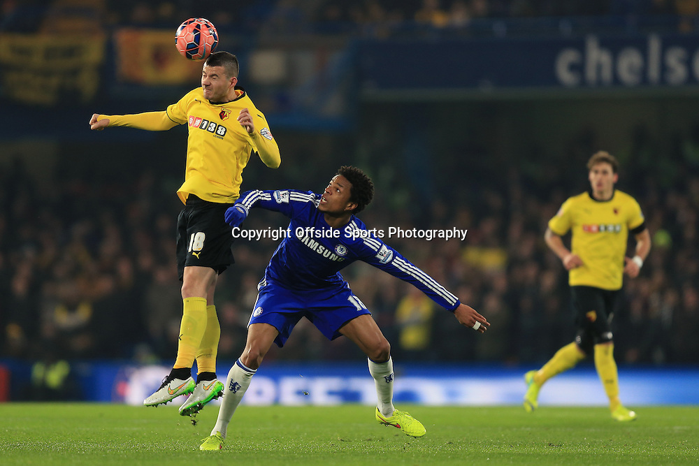4 January 2015 - The FA Cup 3rd Round - Chelsea v Watford - Daniel Pudil of Watford in action with Loic Remy of Chelsea - Photo: Marc Atkins / Offside.