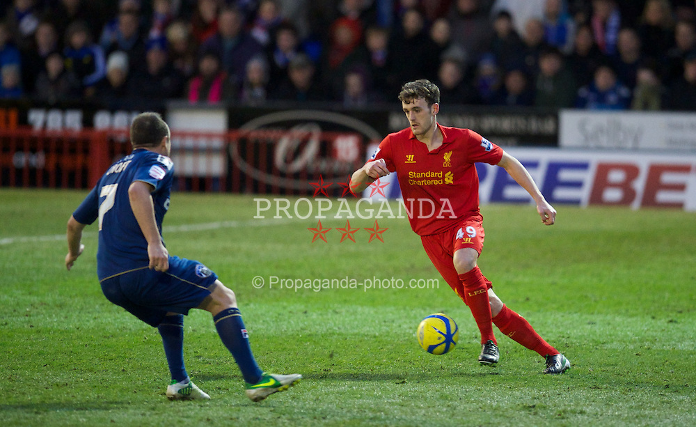 OLDHAM, ENGLAND - Sunday, January 27, 2013: Liverpool's Jack Robinson in action against Oldham Athletic during the FA Cup 4th Round match at Boundary Park. (Pic by David Rawcliffe/Propaganda)