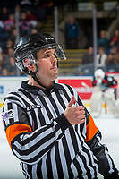 KELOWNA, CANADA - OCTOBER 20: Referee Jeff Ingram gestures thumbs up to the bench at the Kelowna Rockets against the Portland Winterhawks on October 20, 2017 at Prospera Place in Kelowna, British Columbia, Canada.  (Photo by Marissa Baecker/Shoot the Breeze)  *** Local Caption ***