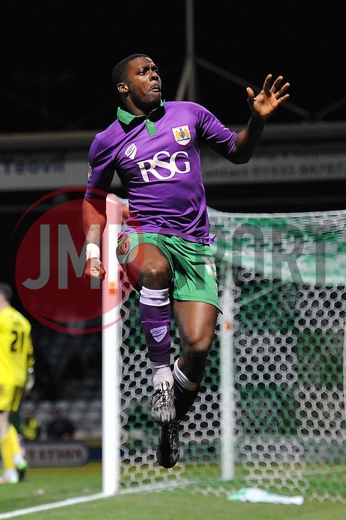 Bristol City's Kieran Agard celebrates his goal. - Photo mandatory by-line: Dougie Allward/JMP - Mobile: 07966 386802 - 10/03/2015 - SPORT - Football - Yeovil - Huish Park - Yeovil Town v Bristol City - Sky Bet League One