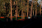 Augusta, GA - April 4, 2016:  Staff and workers head to their spots on the course during the early morning hours as they prepare for Monday's practice round of the 2016 Masters at Augusta National Golf Club in Augusta, Ga, Monday, April 4, 2016.(Gerry Melendez for ESPN)