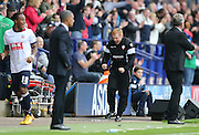 Bolton Wanderers First Team Manager Neil Lennon celebrating during the Sky Bet Championship match between Bolton Wanderers and Brighton and Hove Albion at the Macron Stadium, Bolton, England on 26 September 2015.