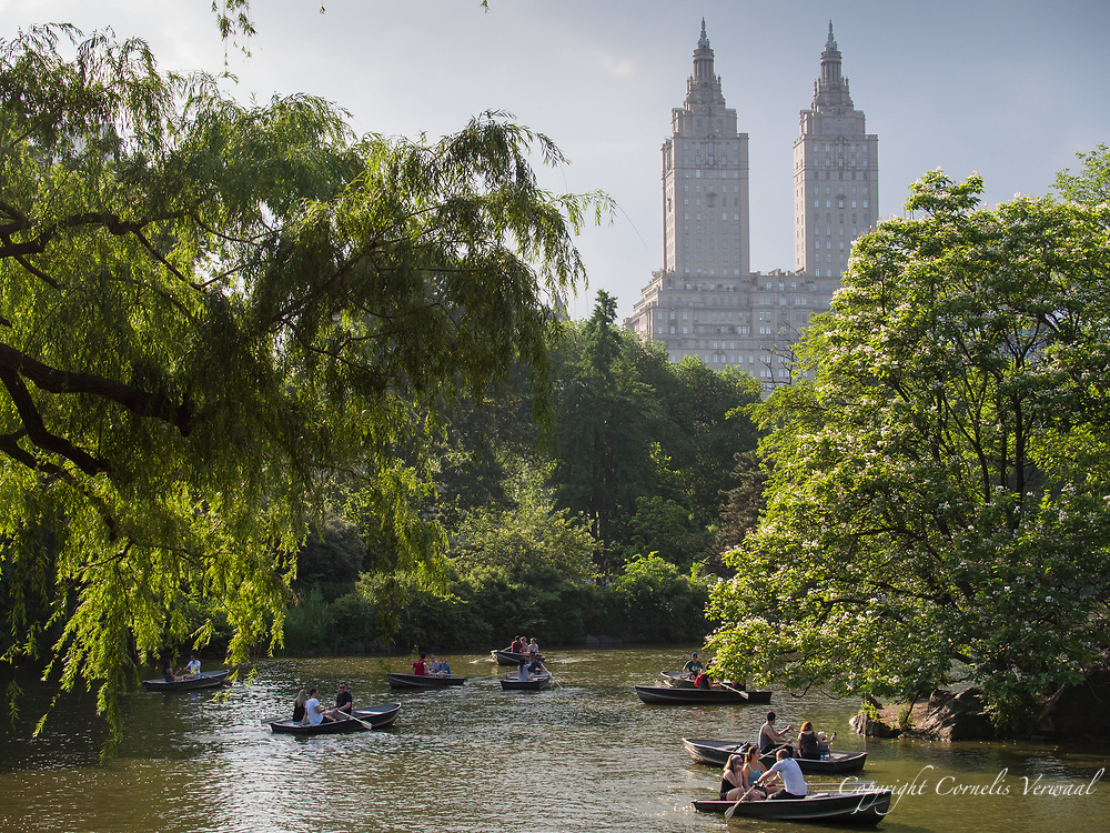 The Lkae in Central Park with a view of the towers of the San Remo