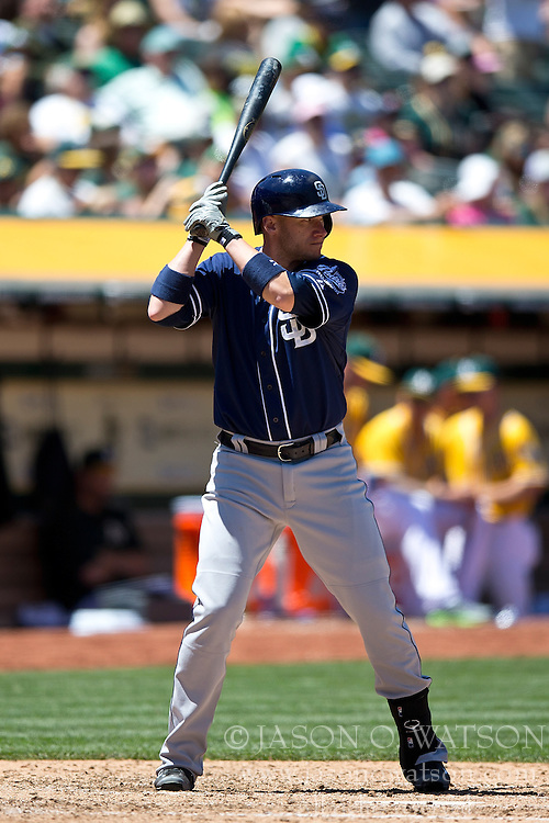 OAKLAND, CA - JUNE 18:  Clint Barmes #12 of the San Diego Padres at bat against the Oakland Athletics during the seventh inning at O.co Coliseum on June 18, 2015 in Oakland, California. The San Diego Padres defeated the Oakland Athletics 3-1. (Photo by Jason O. Watson/Getty Images) *** Local Caption *** Clint Barmes