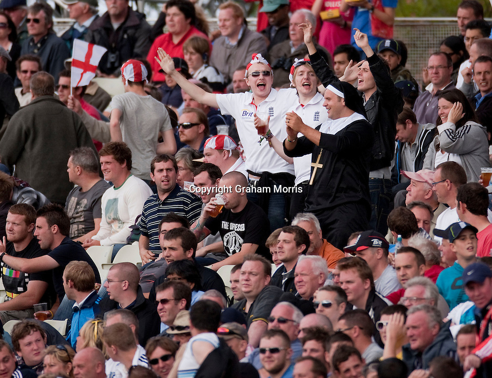 England supporters revel during the third npower Test Match between England and India at Edgbaston, Birmingham.  Photo: Graham Morris (Tel: +44(0)20 8969 4192 Email: sales@cricketpix.com) 11/08/11