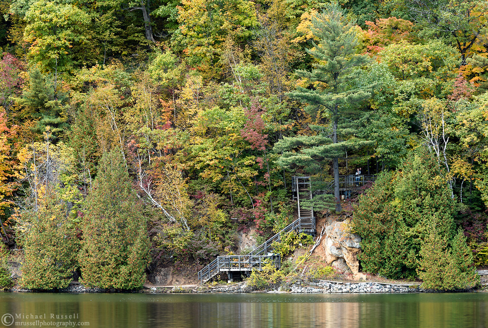 """Some of the stairs and viewing areas along the Pink Lake Trail loop at Pink Lake (Lac Pink) in Gatineau Park, Québec, Canada.  Photographed during the """"Fall Rhapsody"""" festival celbrating fall foliage colours in Gatineau Park."""