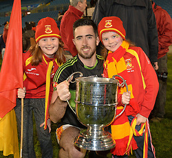 Castlebar&rsquo;s Mitchels Rory Byrne with fans Treasa and Aoibheann Conway after the county senior football final at McHale park.<br /> Pic Conor McKeown