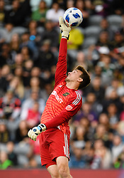 May 13, 2018 - Los Angeles, CA, U.S. - LOS ANGELES, CA - MAY 13: Los Angeles FC goalkeeper Tyler Miller (1) gets a hand on a shot at the goal during the game between New York City FC and the Los Angeles FC on May 13, 2018, at Banc of California Stadium in Los Angeles, CA. (Photo by David Dennis/Icon Sportswire) (Credit Image: © David Dennis/Icon SMI via ZUMA Press)