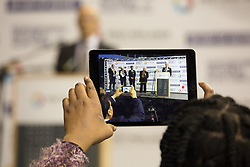 © Licensed to London News Pictures. 5/5/2017. Birmingham, UK. Birmingham Mayor Election results held at the Barclaycardarena, Birmingham. Pictured, first round results being announced. Photo credit : Dave Warren/LNP