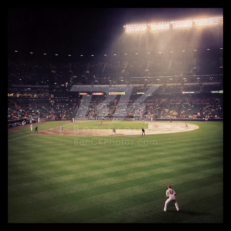 An Instagram of Josh Hamilton of the Los Angeles Angels playing in the rain at Camden Yards in Baltimore, Maryland.