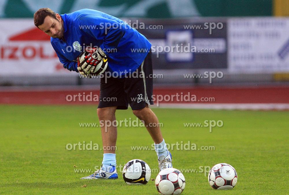 Goalkeeper of Slovenia Samir Handanovic (1) at practice of Slovenian men National team, on October 13, 2008, in Domzale, Slovenia.  (Photo by Vid Ponikvar / Sportal Images)