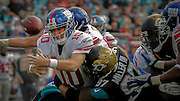 during the second half of an NFL football game, Sunday, Nov. 30, 2014, in Jacksonville, Fla. The Jaguars beat the Giants 25-24. (AP Photo/Stephen B. Morton)